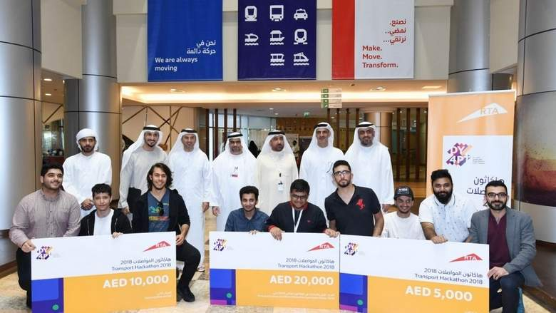 The three winning teams which participated in the 'Youth for Public Transport'(Y4PT) Hackathon organised at Dubai. Photo courtesy: Facebook page of RTA