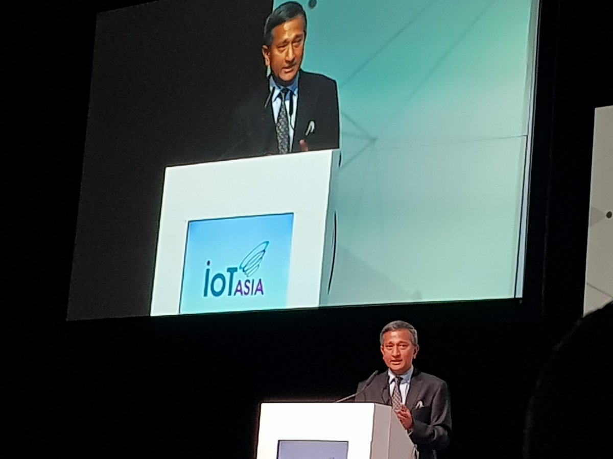 Dr Vivian Balakrishnan, Minister-in-charge of Smart Nation speaking at the IoT Asia 2018 Conference today.
