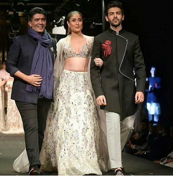 From left: Manish Malhotra, Kareena Kapoor Khan and Kartik Aaryan in Singapore.
