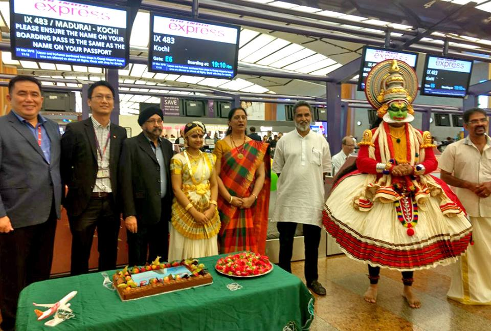 People celebrating the launch of the daily Madurai-Singapore flight on all seven days of the week at the Changi Airport.