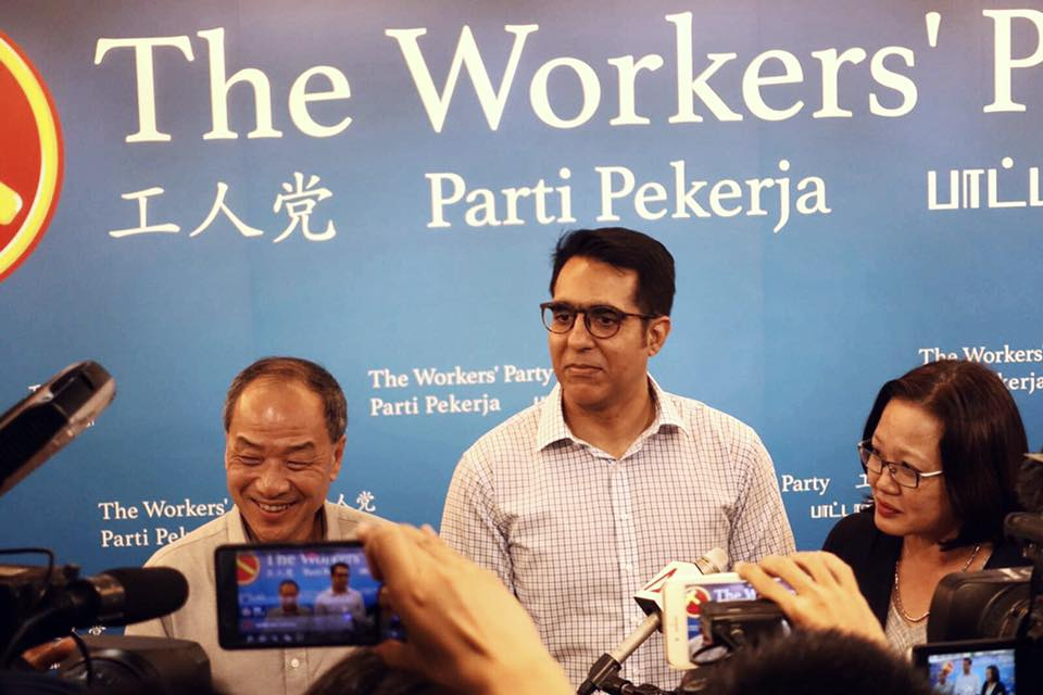 Pritam Singh (centre) has become the new secretary-general of Workers' Party in Singapore. He is being flanked by Low Thia Khiang (left), former chief of the party and Sylvia Lim (right) who retained the party's chairpersonship.