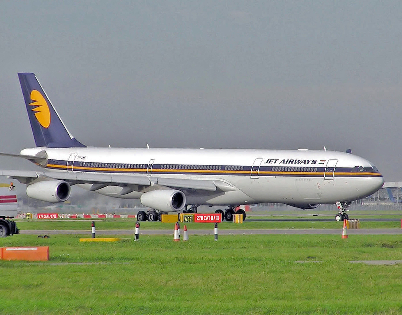 Jet Airways flight arriving from Dubai hit a parked catering vehicle at Delhi's Indira Gandhi International Airport while the plane was taxiing to a parking bay.
