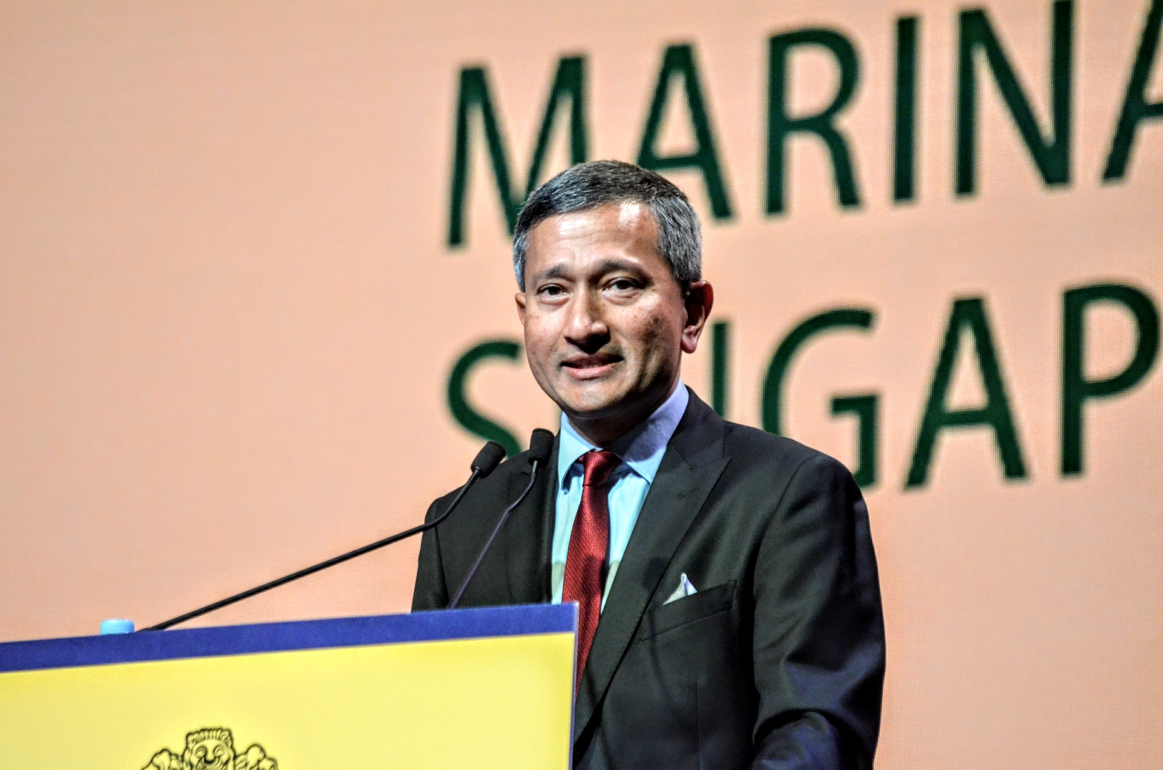 Dr Vivian Balakrishnan, Minister for Foreign Affairs, Singapore speaking at the ASEAN India Pravasi Bharatiya Divas in Singapore at the Marina Bay Sands Convention centre.