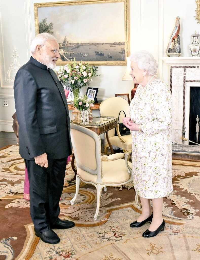 Indian PM Narendra Modi (left) and Queen Elizabeth II in Buckingham Palace yesterday.