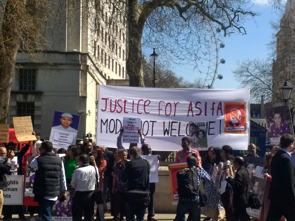 Diaspora protesters outside Westminster in London.