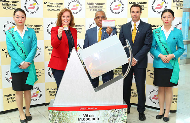 Dubai Duty Free Millennium Millionaire draw was conducted by Dubai Duty Free Chief Operating Officer, Ramesh Cidambi, Sinead El Sibai, Senior Vice President-Marketing and Michael Schmidt, Senior Vice President-Retail Support.