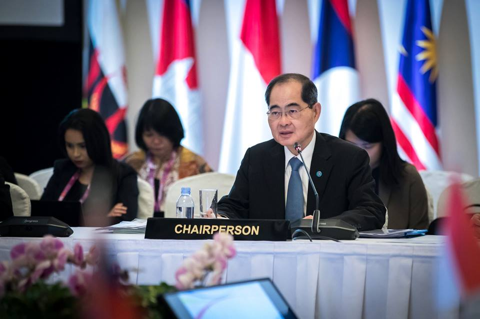 Lim Hng Kiang, Minister for Trade and Industry (Trade) delivering the opening remarks at the 16th ASEAN Economic Community (AEC) Council Meeting in Singapore today.