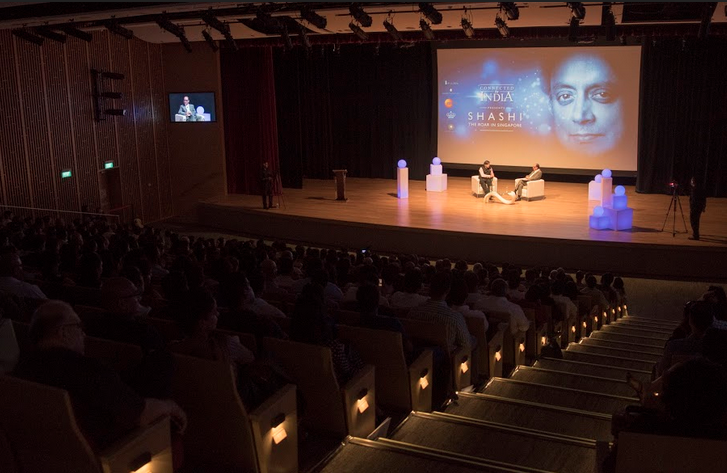 The magnificent Singapore Chinese Cultural Centre auditorium was the venue for Connected to India's Shashi The Roar In Singapore. Audience consisting primarily of Indian diaspora incisive questions and had suggestions for the MP from Thiruvananthapuram Photo: Connected to India
