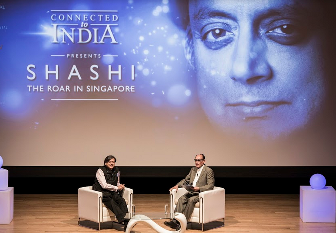 Dr Shashi Tharoor with Vikram Khanna at Singapore Chinese Cultural Centre Auditorium.
