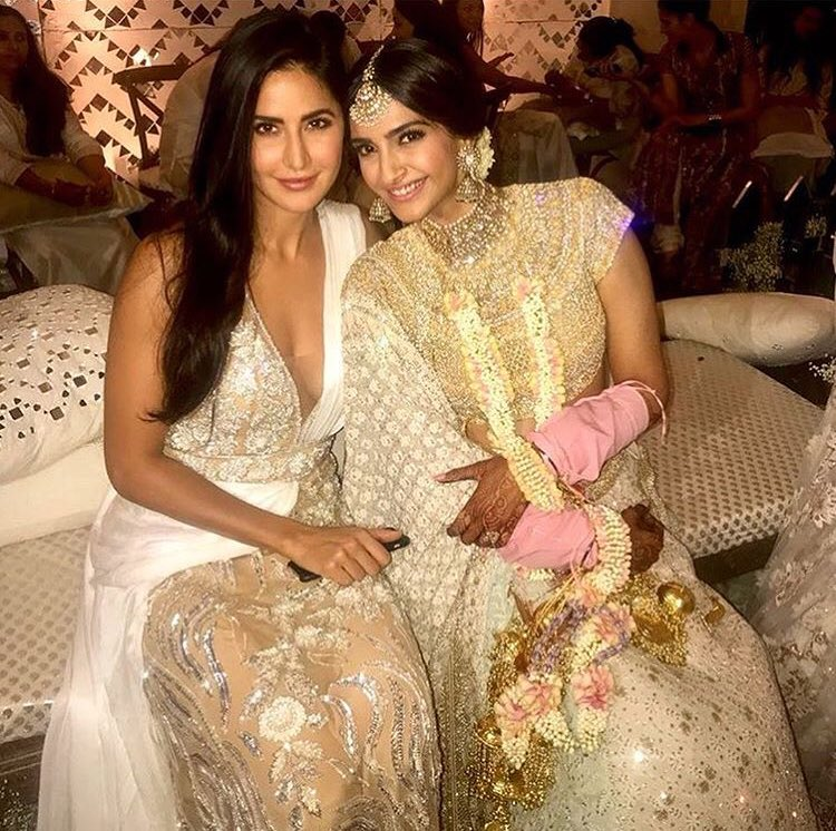 Sonam with Katrina Kaif during her Mehendi ceremony.