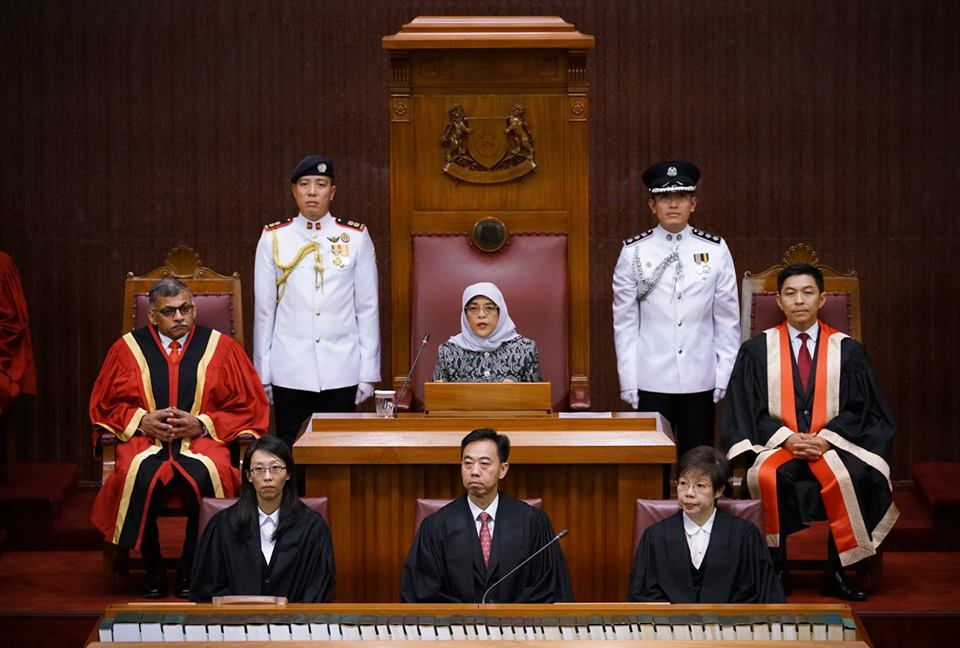 Halimah Yacob, President of Singapore giving her inaugural address during the opening of second session of the 13th Parliament.