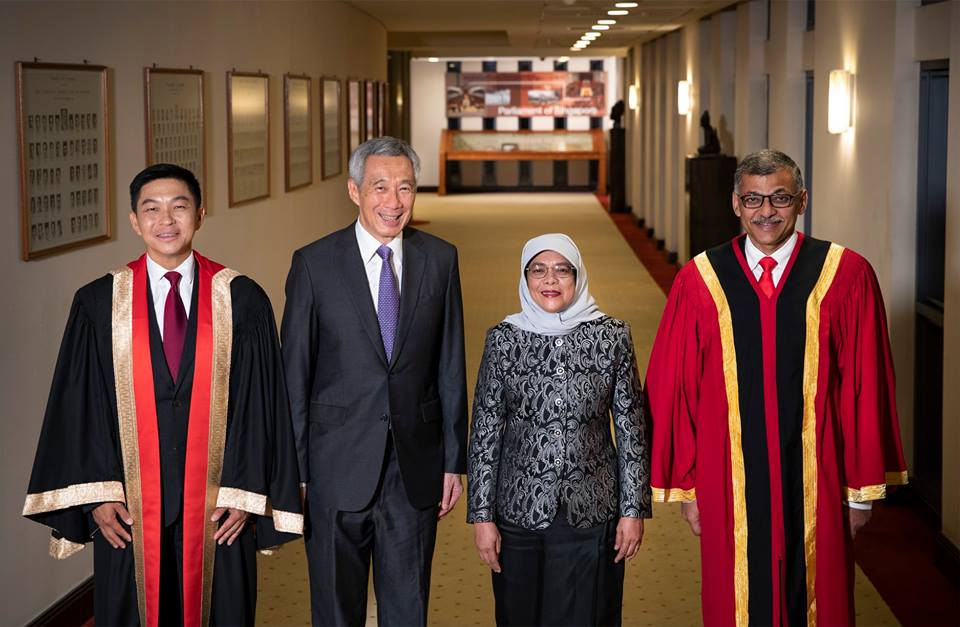Halimah Yacob, President of Singapore along with Tan Chuan Jin, Speaker of Parliament, Lee Hsien Loong,Prime Minister of Singapore and Sundaresh Menon, Chief Justice during the opening of second session of the 13th Parliament.