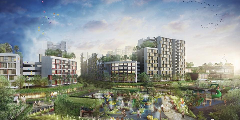 An artist impression of flats at the Tengah Town in Singapore.