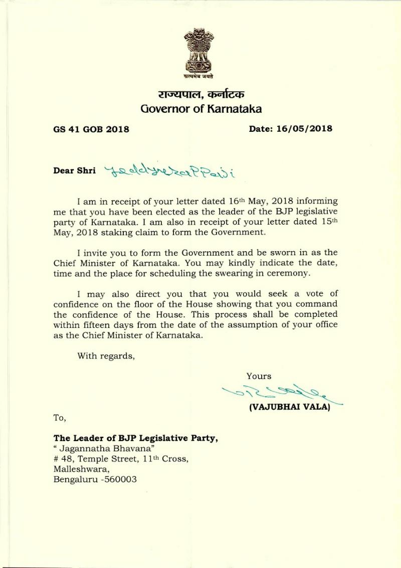 letter karnataka governor