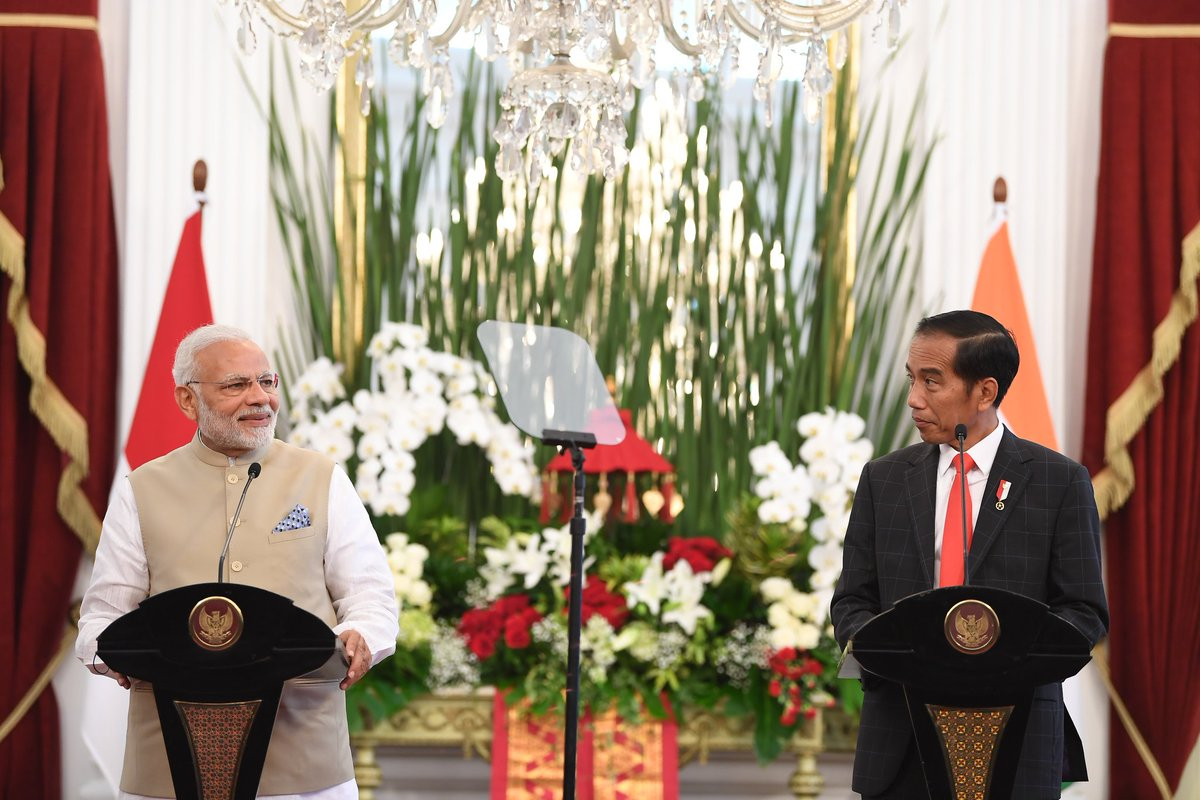 Statement on Shared Vision of India-Indonesia Maritime Cooperation in the Indo Pacific agreed during PM Modi visit to Indonesia. The document, first with any ASEAN country, outlines areas of maritime cooperation and envisages security architecture in Indo Pacific region.