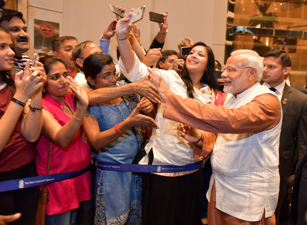 Indian Prime Minister Narendra Modi was given an enthusiastic welcome by the members of Indian community in Jakarta.