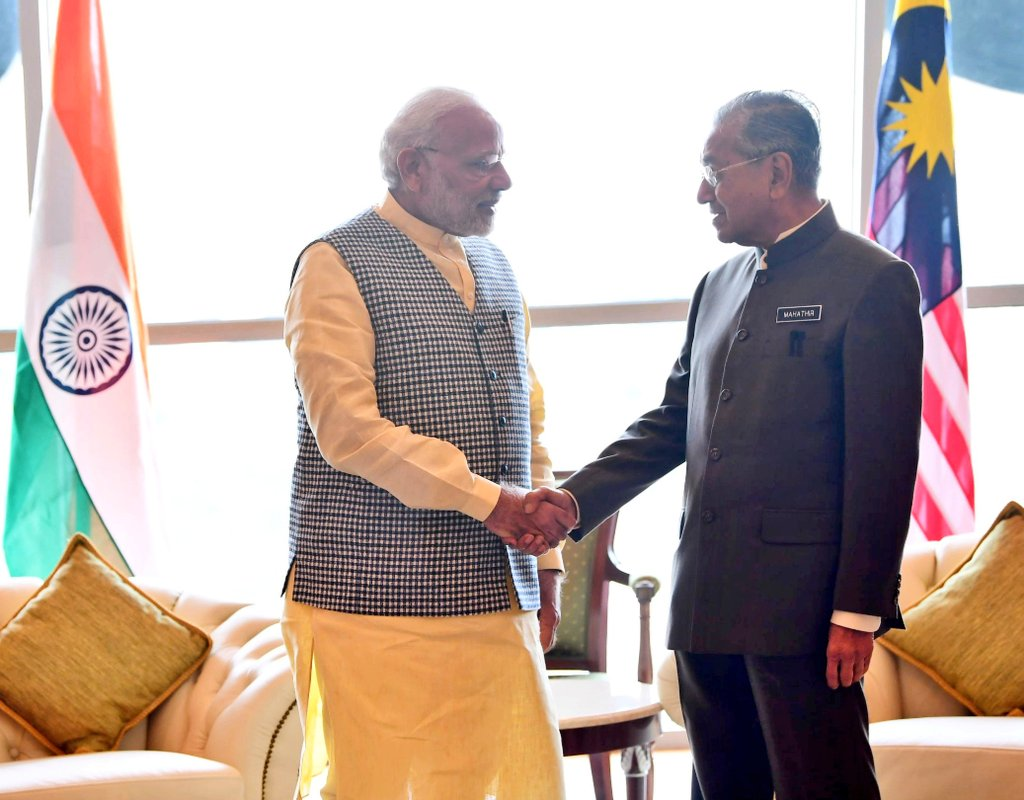 Indian Prime Minister Narendra Modi meeting with the newly elected Malaysian Prime Minister Mahathir Mohammad in his office at Perdana Putra Complex, Putrajaya. Photo courtesy: Twitter/@MEAIndia