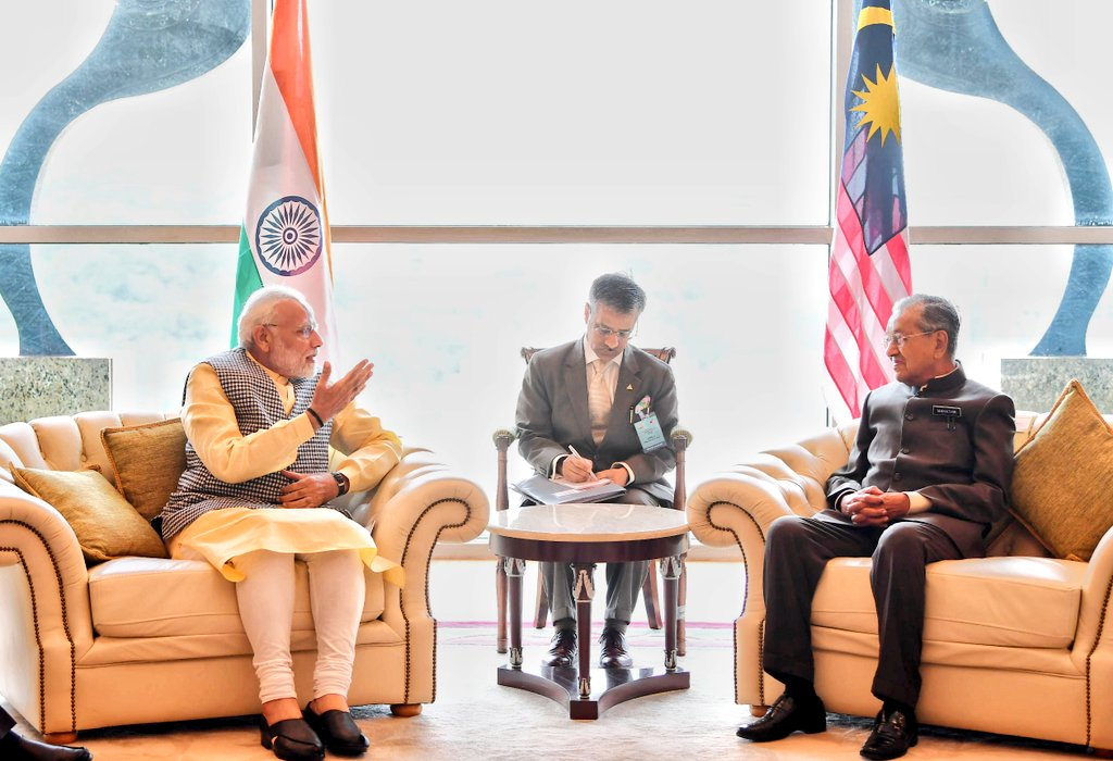 Modi and Mahathir Mohammad held productive exchange of views on strengthening partnership between India and Malaysia.