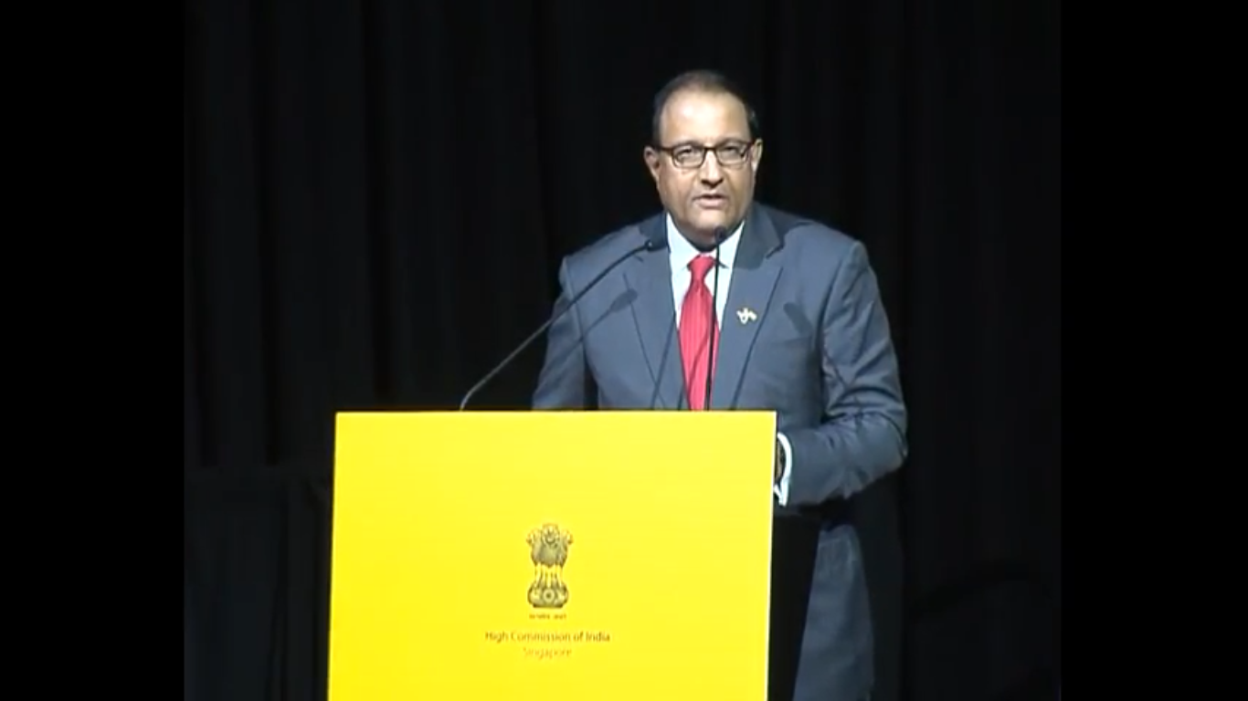 S Iswaran, Singapore's Minister for Trade and Industry, delivered the welcome speech, inviting PM Modi to the stage.