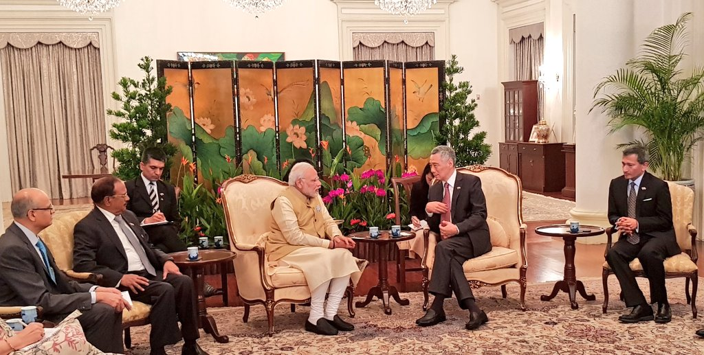 Indian Prime Minister Narendra Modi holding delegation level talks with his Singaporean counterpart Lee Hsien Loong at Istana. The discussion focused on a wide range of bilateral cooperation, specially in trade & investment, connectivity, innovation, technology and strategic issues between the two countries.