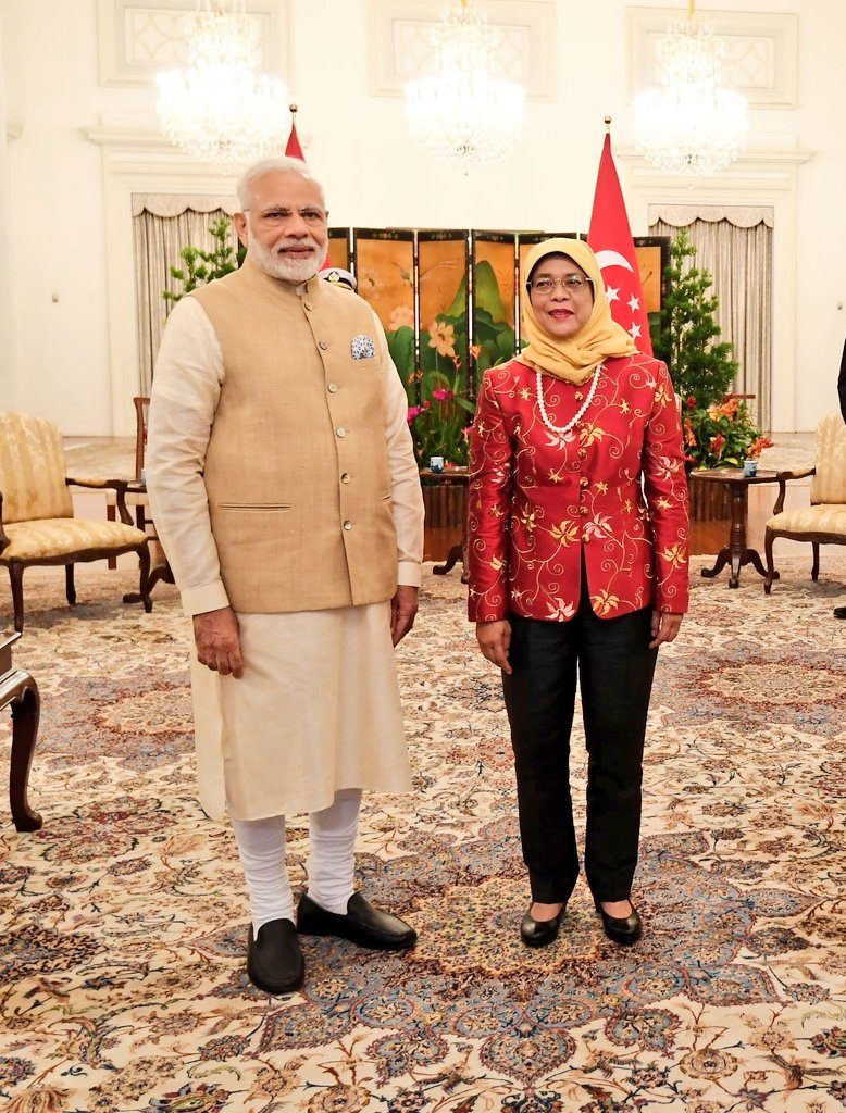 PM Modi called on President of Singapore Halimah Yacob at Istana in the morning.