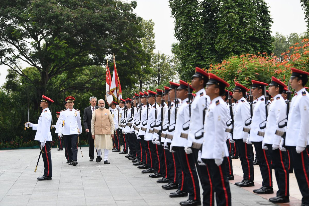 PM Modi was accorded a ceremonial welcome on his arrival at Istana - Presidential Palace of Singapore.