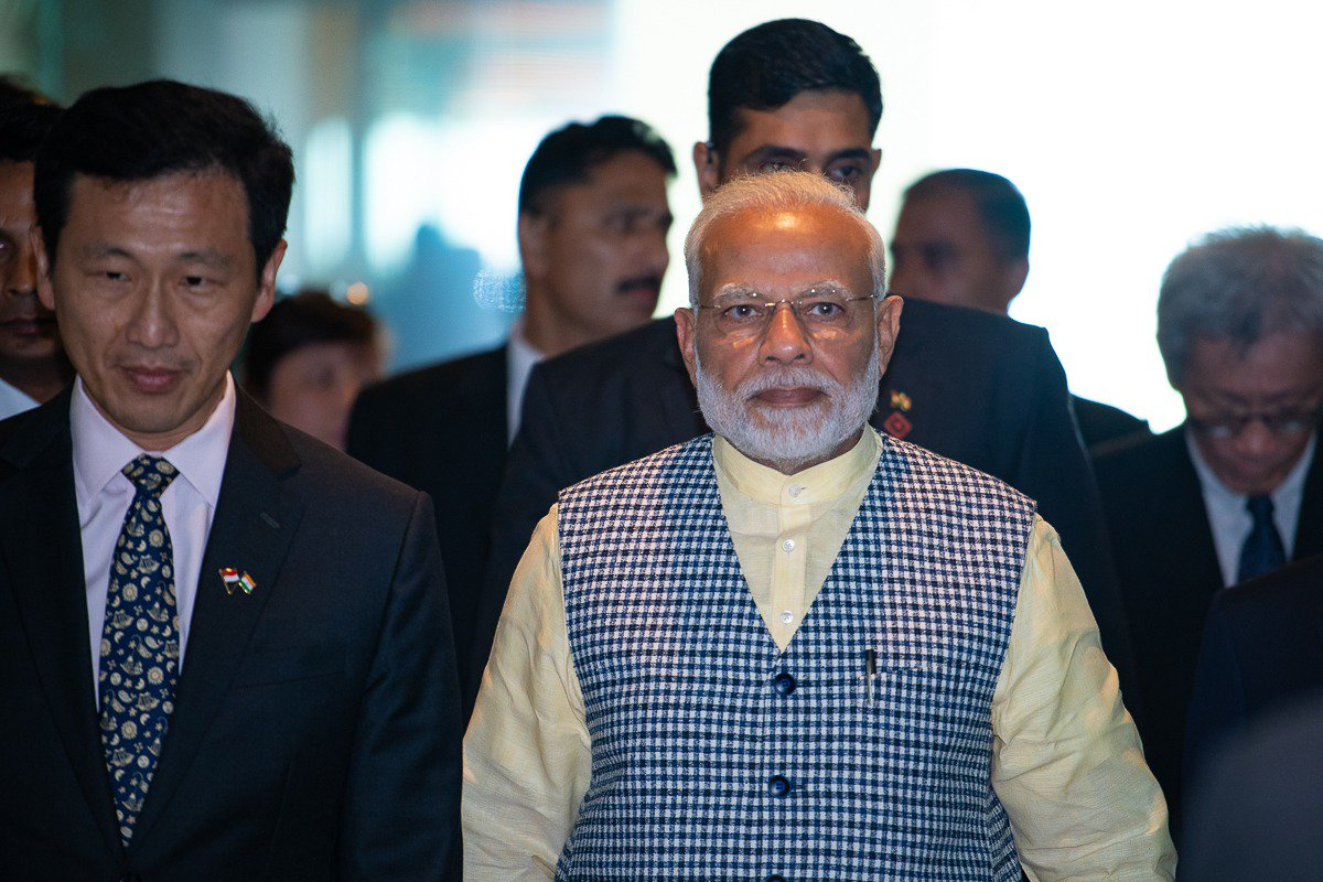Indian Prime Minister Narendra Modi along with Singapore's Minister for Education Ong Ye Kung.