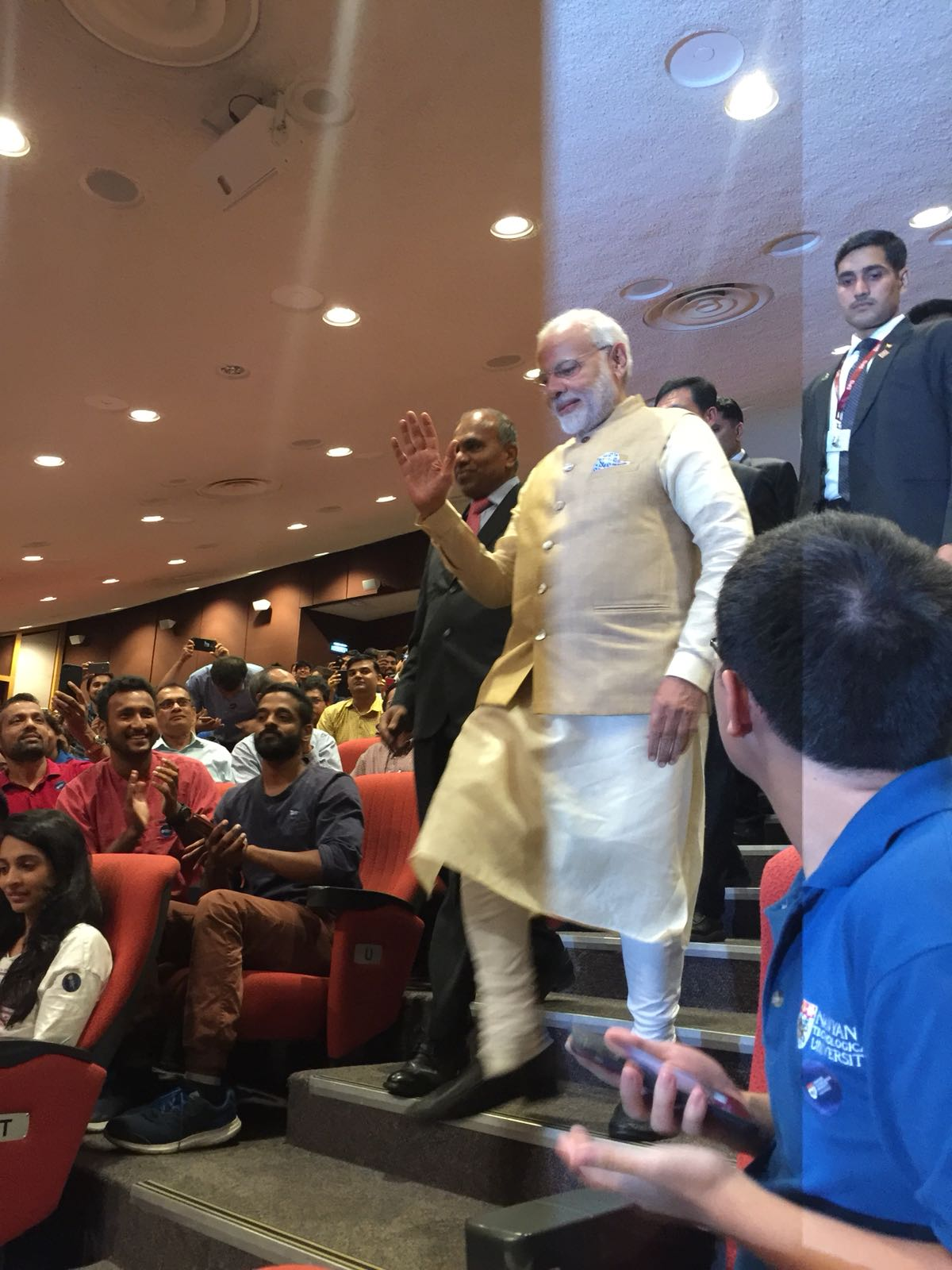 There was considerable excitement among the student community as Indian Prime Minister Narendra Modi reached Nanyang Technical University (NTU) to participate in the interaction titled 'Transforming Asia through Innovation'.
