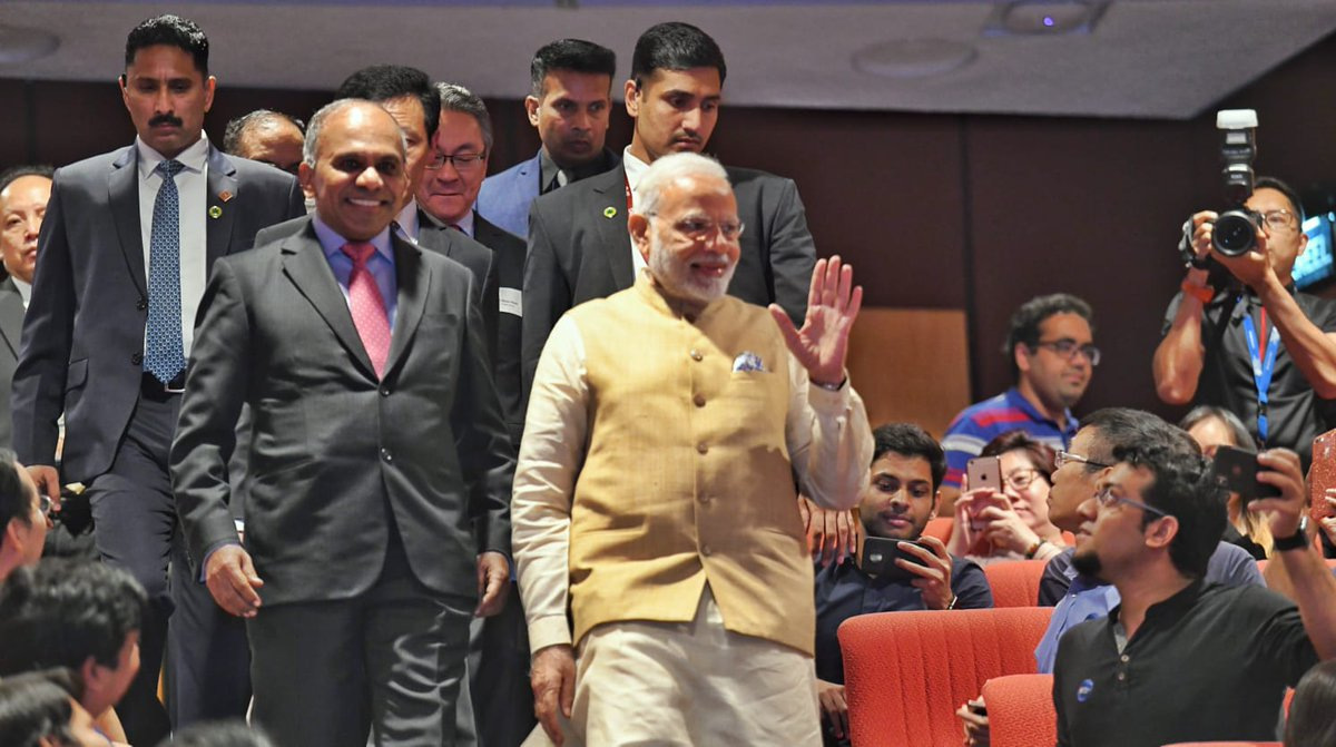 Modi was accompanied by Singapore's Education Minister Ong Ye Kung. He is set to later deliver the keynote address at the 18th Shangri-La Dialogue