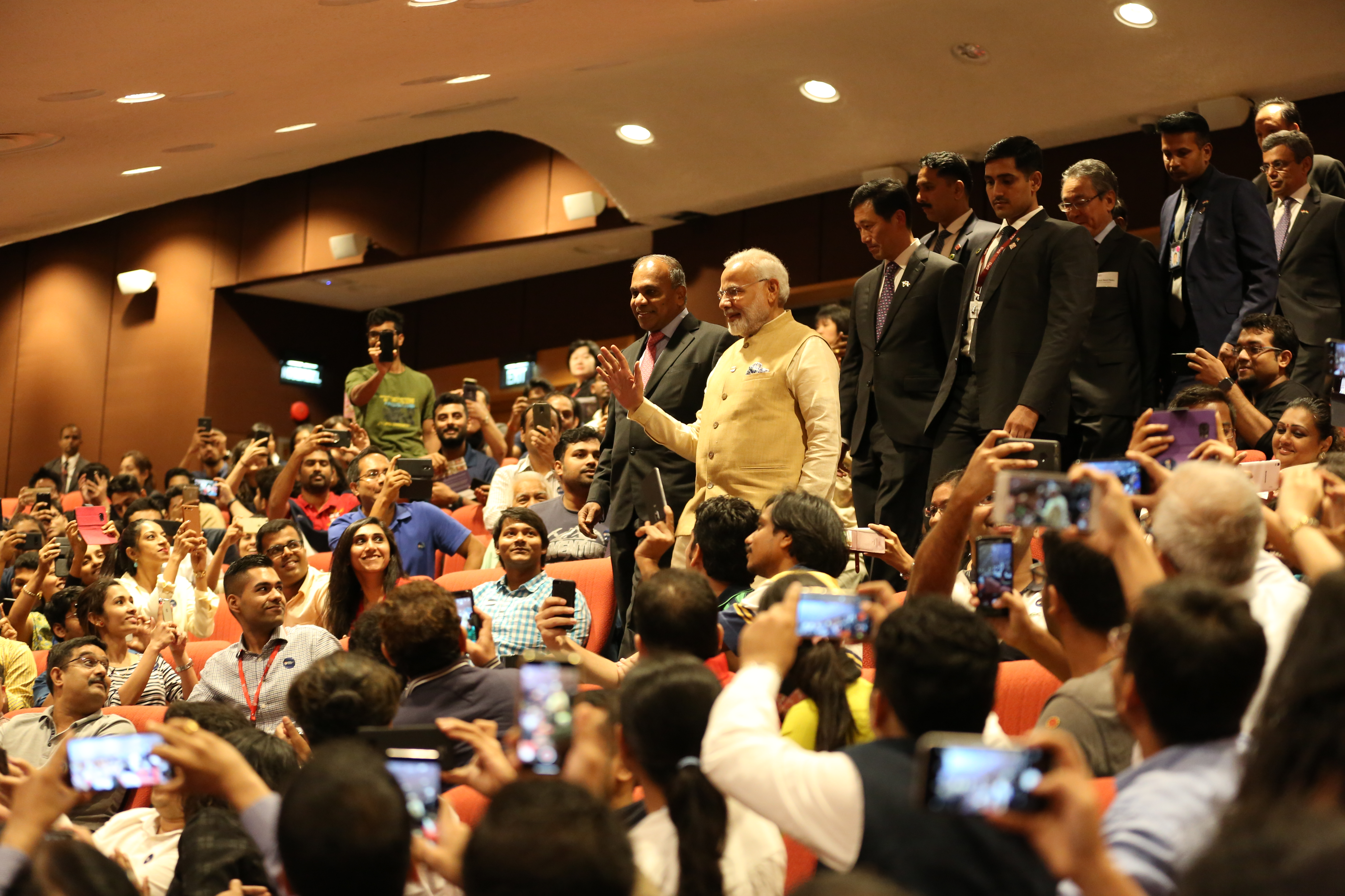 PM Narendra Modi receiving a rousing welcome from NTU students