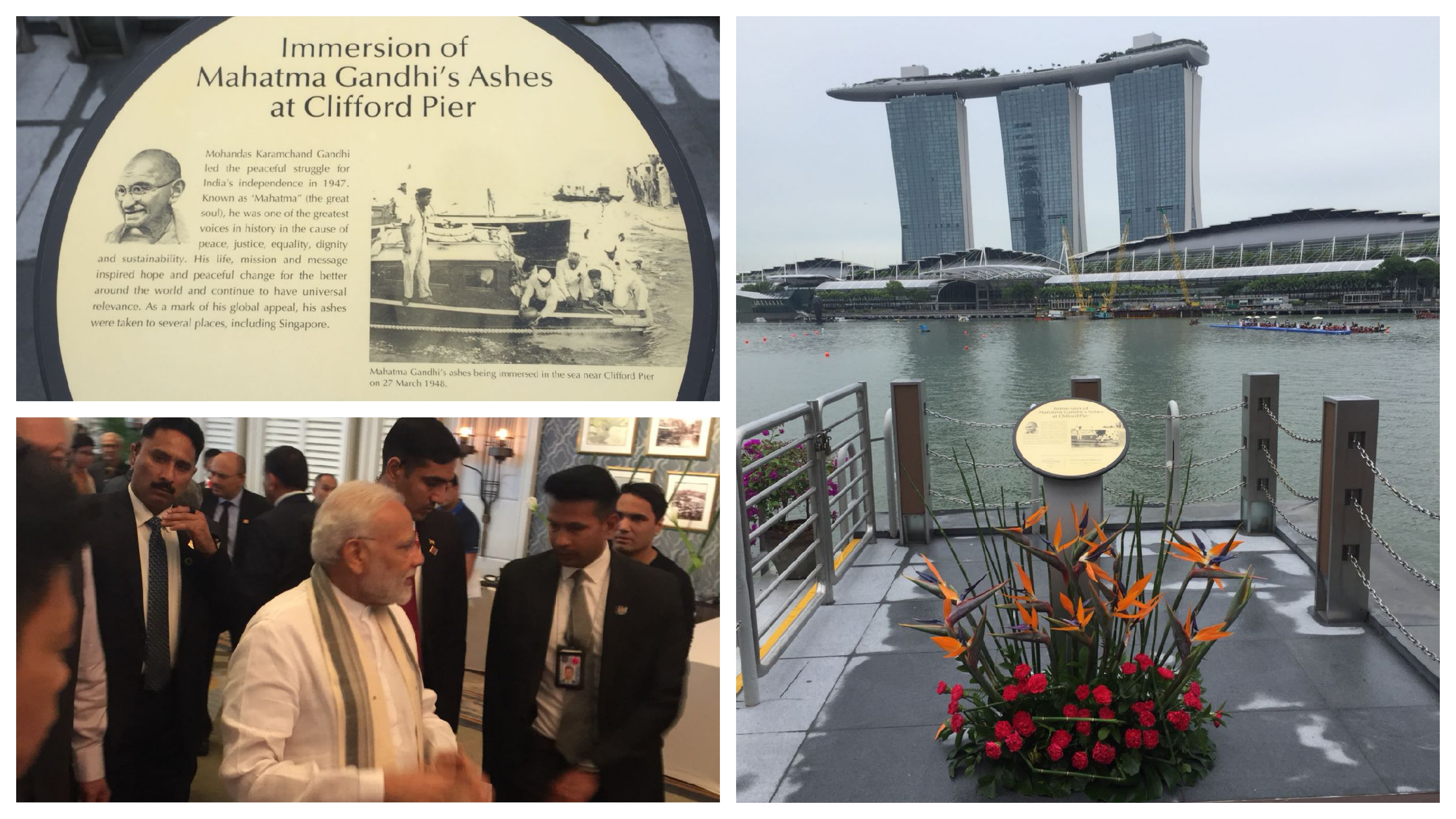 (Clockwise from left): A close-up of the plaque; a view of Marina Bay from Clifford Pie with the site of the plaque in the foreground; PM Modi arrives at the Fullerton Hotel for the unveiling ceremony. Photos: Connected to India