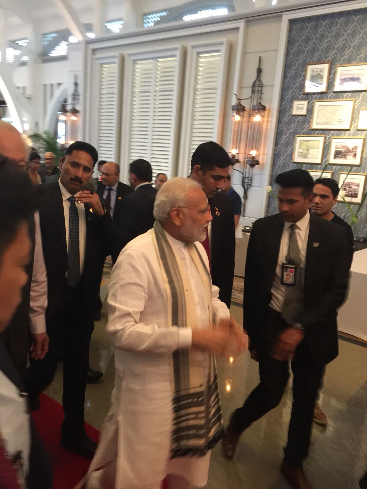 Indian Prime Minister Narendra Modi arriving at the Fullerton Hotel for the unveiling of plaque ceremony.