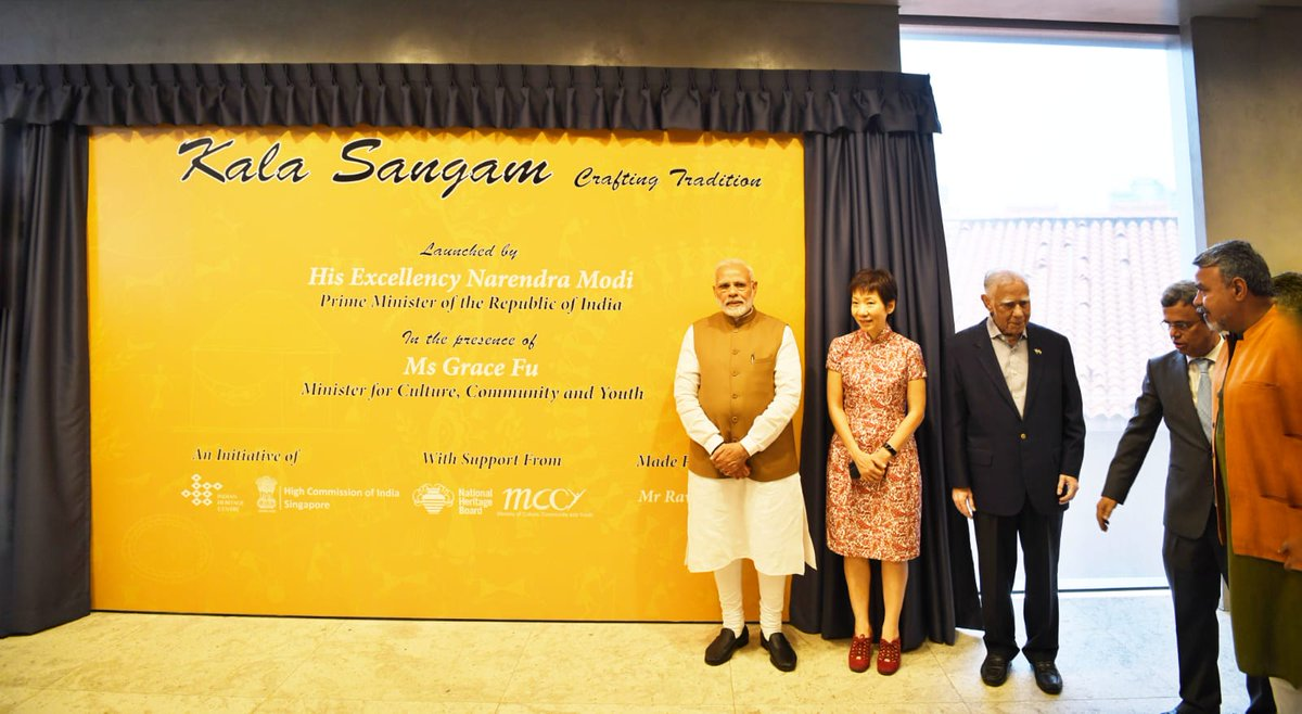 PM Modi unveiling Kala Sangam, a permanent platform established by High Commission of India at Indian Heritage Centre. The purpose of the platform is to to bring Indian artisans to Singapore to demonstrate their craft, make and sell their products. Singapore Culture Minister Grace Fu Hai Yien is also present on the occasion.