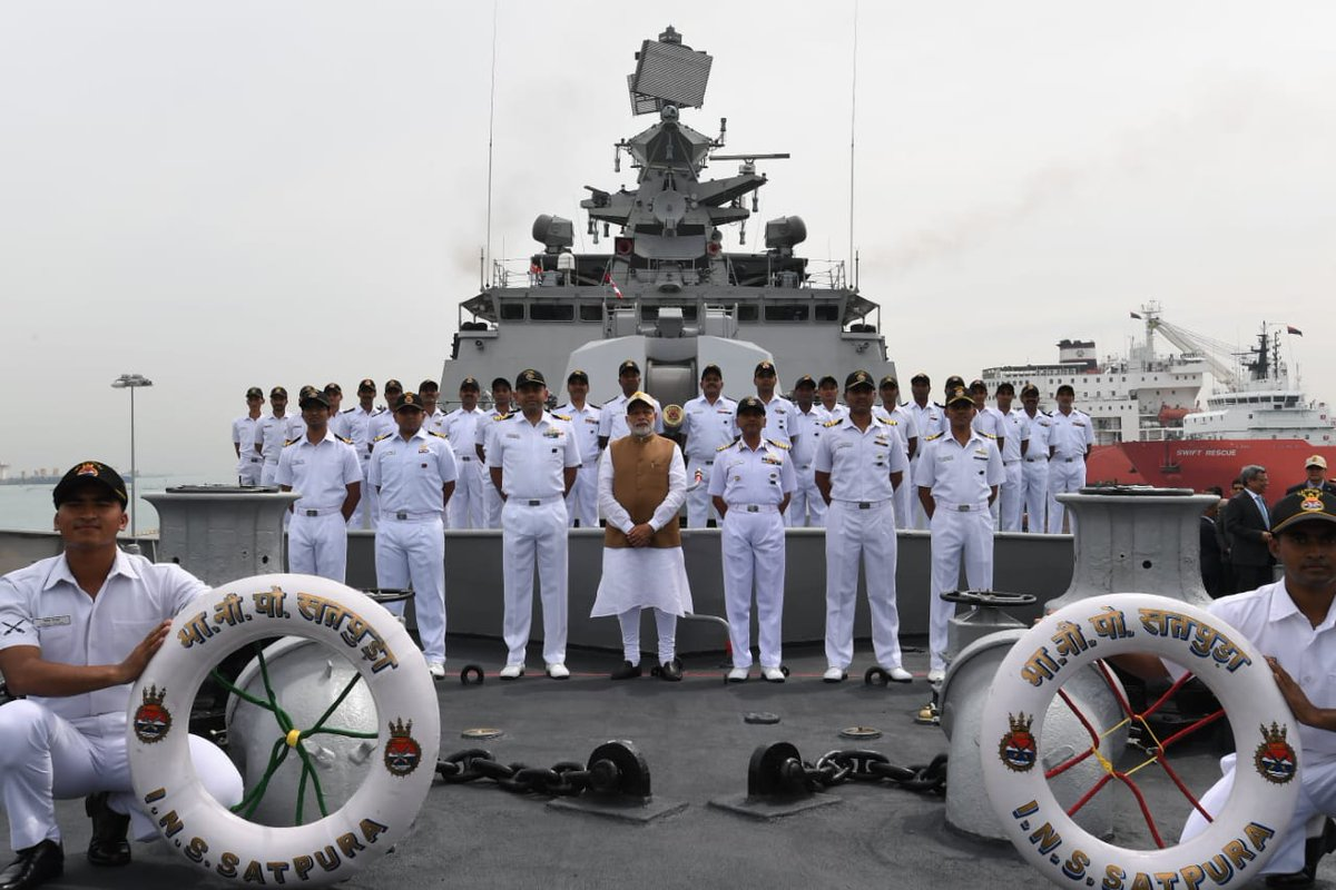 PM Modi on board INS Satpura which is visiting the Changi Naval Base as part of its deployment in the region.