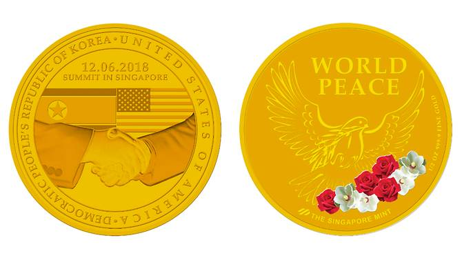 In the front portion of the medallion, there is a handshake between US and North Korean leaders and the national flags of both the countries. The gold medallion has been priced at SGD1,380.