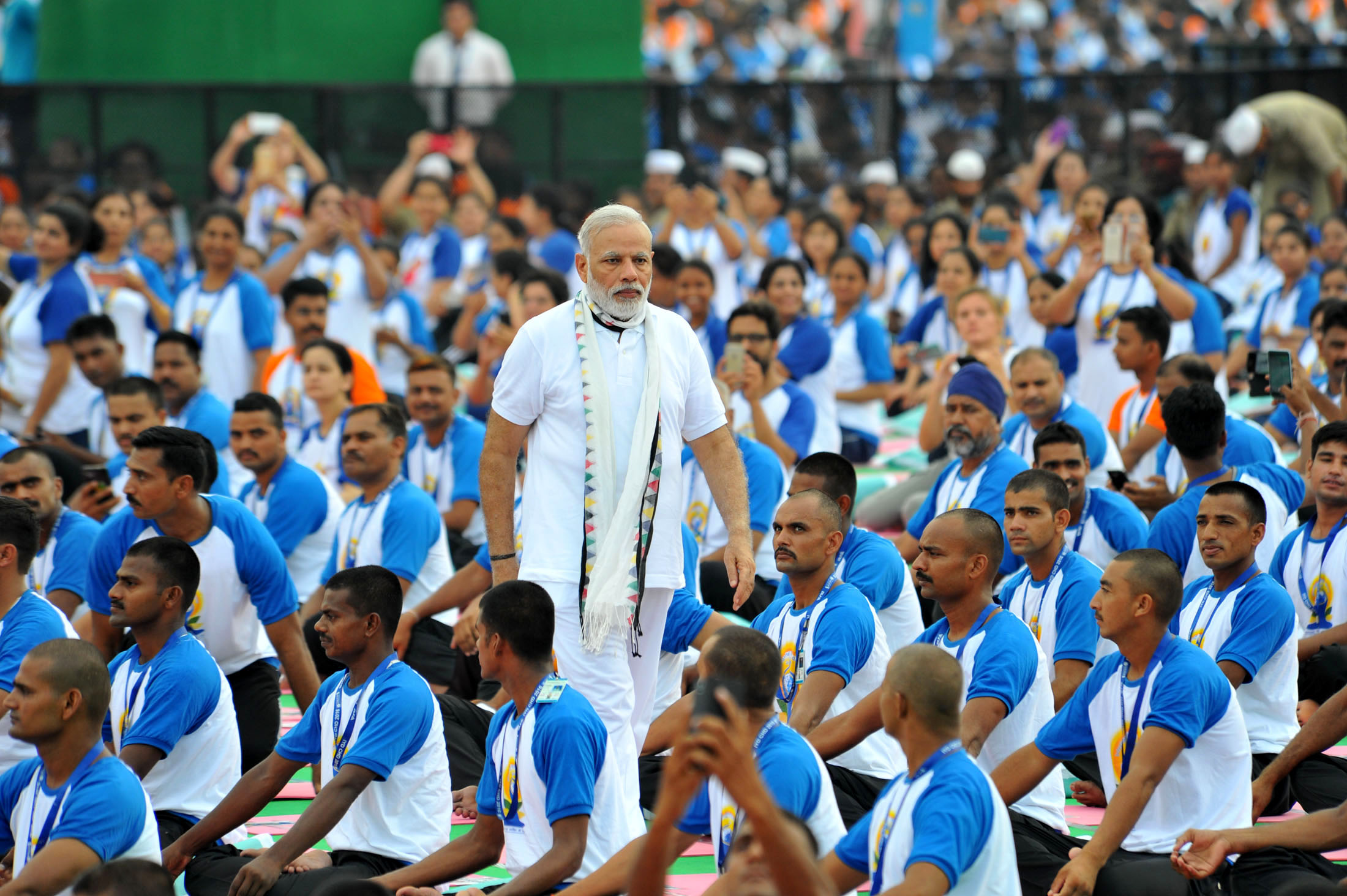 Indian Prime Minister Narendra Modi with the participants during the mass yoga demonstration at the Capitol Complex, Chandigarh, on the occasion of second International Day of Yoga on June 21, 2016.