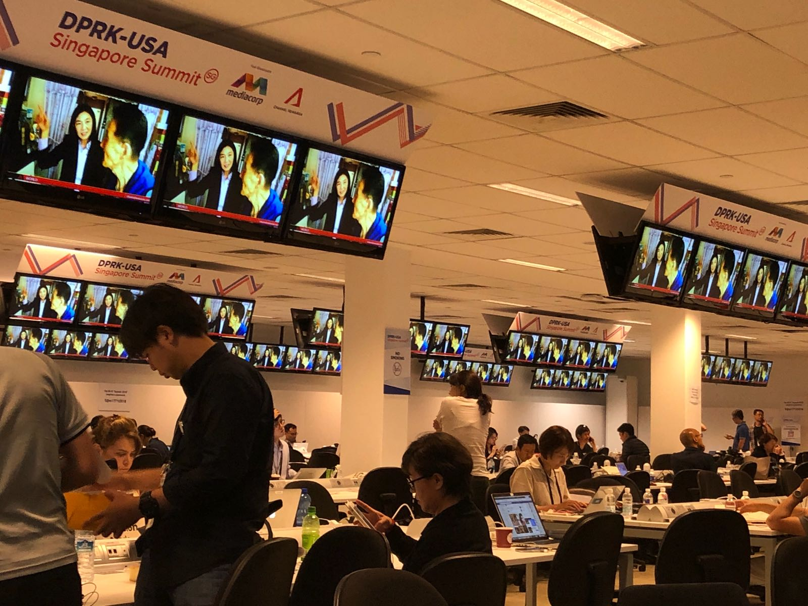 The  media centre has been set up at F1 Pit Building in Singapore.