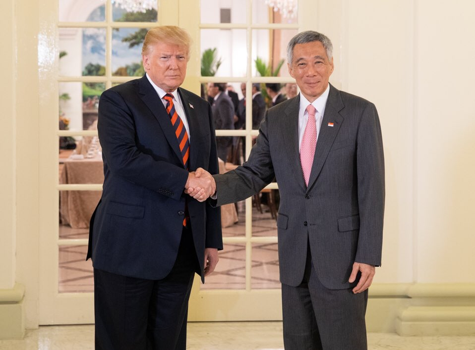 US President Donald Trump meeting Prime Minister of Singapore Lee Hsien Loong at the Istana Palace today.