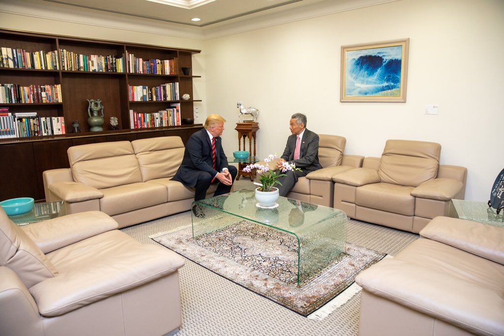 President Trump holding detailed discussions with Prime Minister of Singapore Lee Hsien Loong at the Istana Palace today.