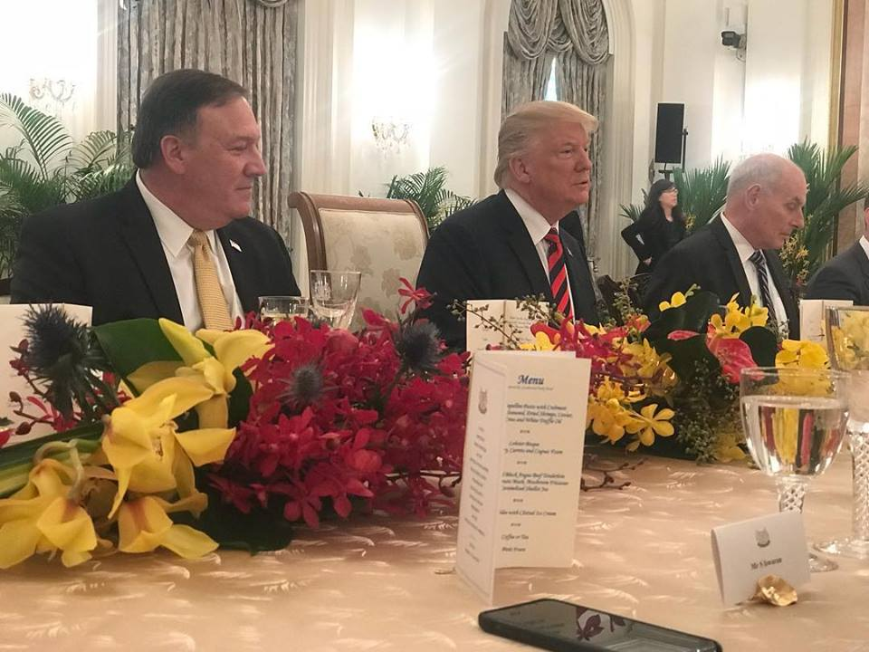 President Trump along with his delegation at a working lunch hosted by Singapore PM Lee Hsien Loong at the Istana Palace today, ahead of Trump-Kim summit on June 12.