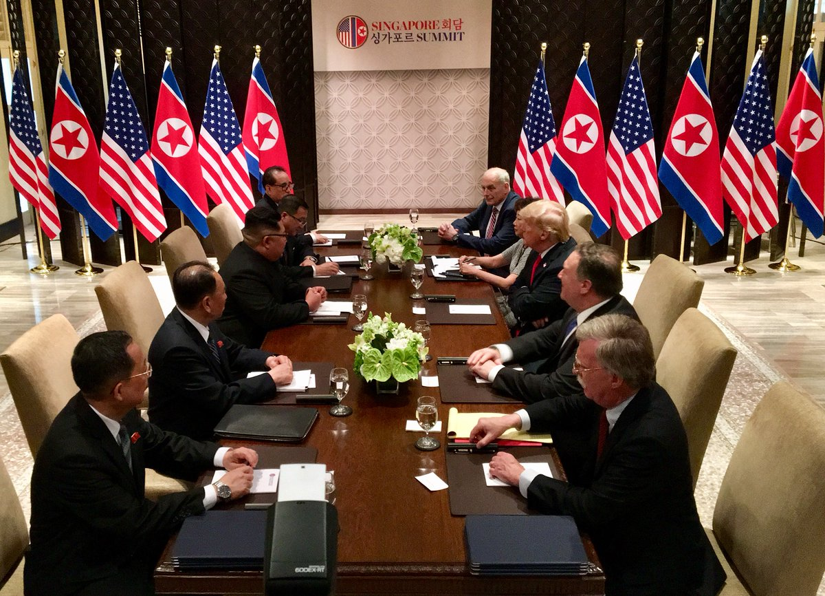US President Donald Trump and North Korean leader Kim Jong Un holding bilateral talks at the Capella hotel in Sentosa.