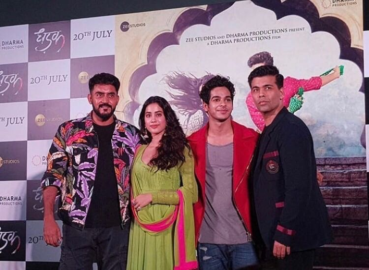Director Shashank Khaitan, Janhvi Kapoor, Ishaan Khatter and producer Karan Johar at the launch of 'Dhadak'.