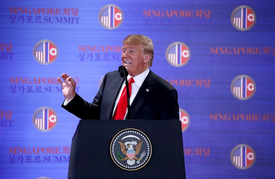 US President Donald Trump adressing media persons at DPRK-USA Singapore Summit. Photo courtesy: Ministry of Communications and Information