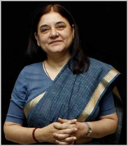 Maneka Gandhi, Indian Union Cabinet Minister for Women & Child Development. Photo courtesy: Wikipedia
