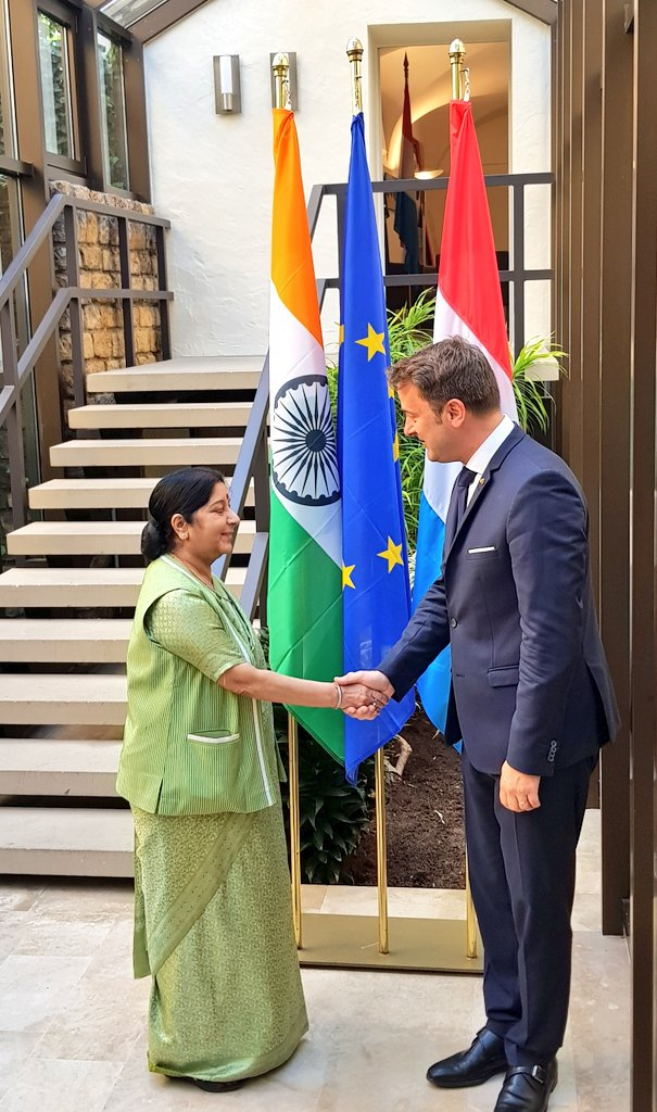 swaraj  EAM @SushmaSwaraj had a warm meeting with the Prime Minister of #Luxembourg Xavier Bettel mea