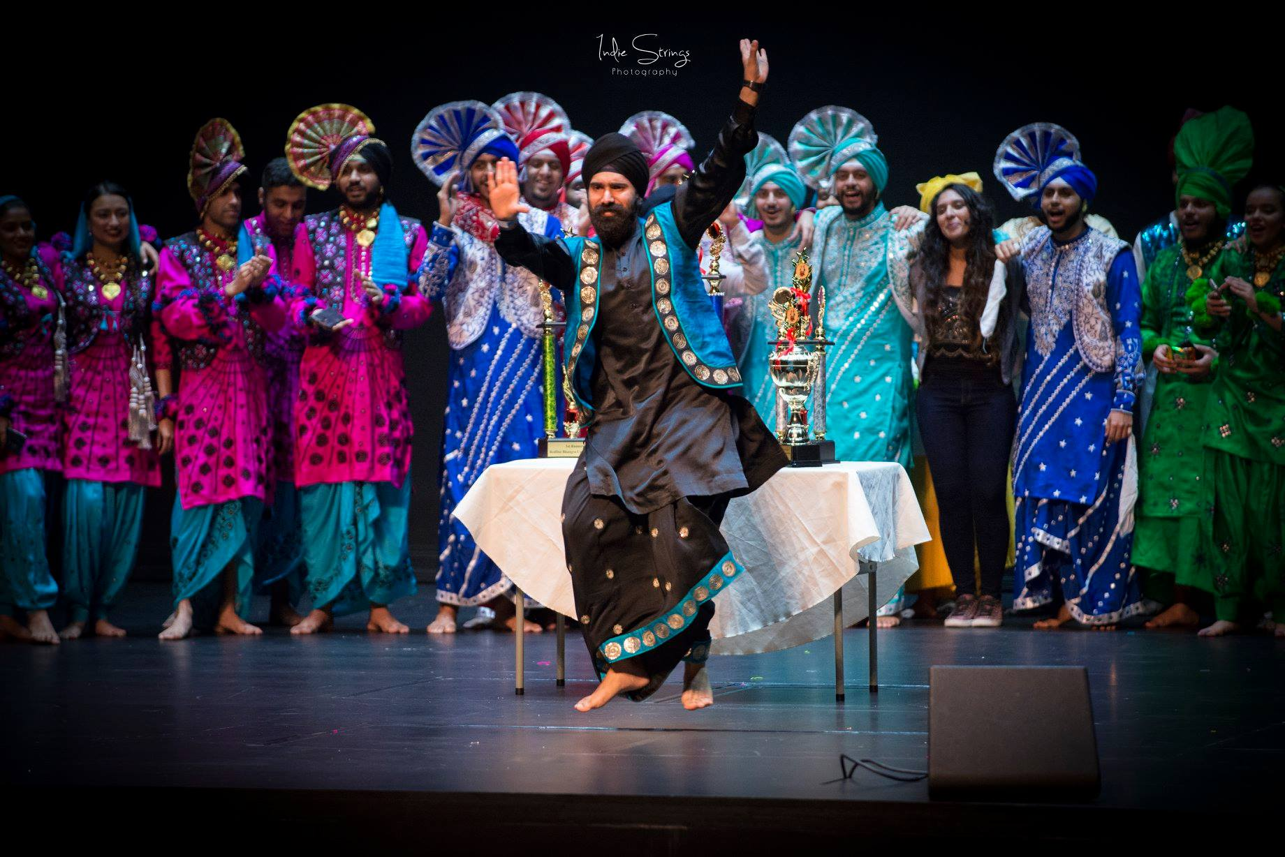 Leading from front, Hargobind Singh, Founder of RedDot Bhangra bowls the audience with his moves before the prize giving at the RedDot Bhangra International 2018 competition. Photo courtesy: IndieStrings