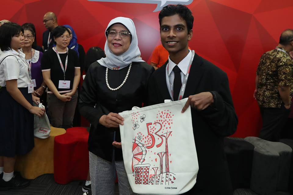 Indian-origin special student Rajkiran Parienan has made a special design titled 'Awesome 53 Years Singapore!' which showcases some of the things he loves about Singapore. Photo courtesy: Facebook page of President Halimah Yacob