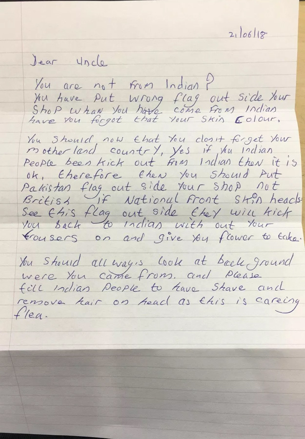 The racist letter to gagan singh in london