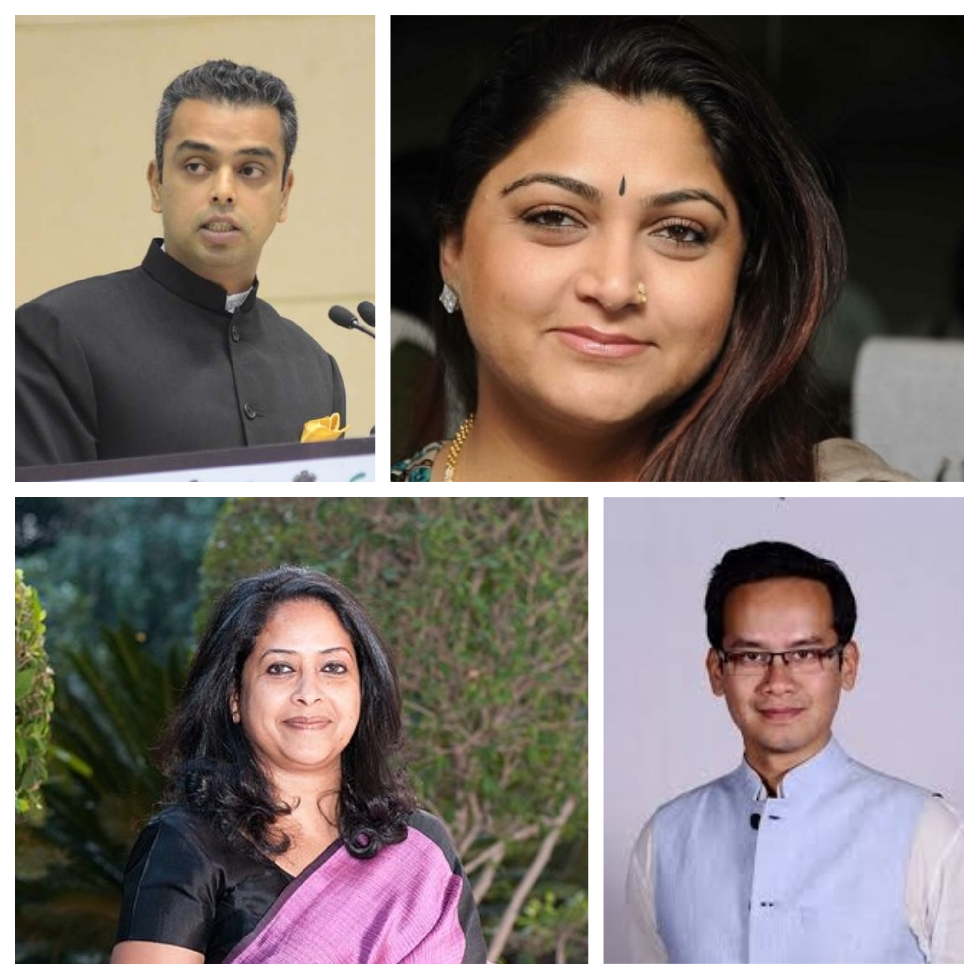 Young Congress leaders (clockwise from bottom left) Sharmistha Mukherjee, Milind Deora, Khushboo and Gaurav Gogoi form part of delegation going to Singapore from July 8 to 11. Photo courtesy: Wikipedia