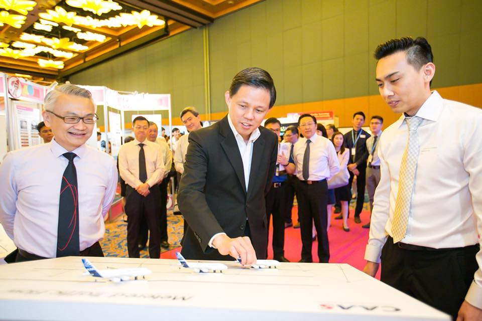 Civil Aviation Authority of Singapore (CAAS) was given the Distinguished ExCEL Innovation Project Award for designing the Distributed Multi-Nodal Air Traffic Flow Management Network project which helps to ease air traffic congestion and enhance the travelling experience for passengers. Photo courtesy: Facebook page of Chan Chun Sing